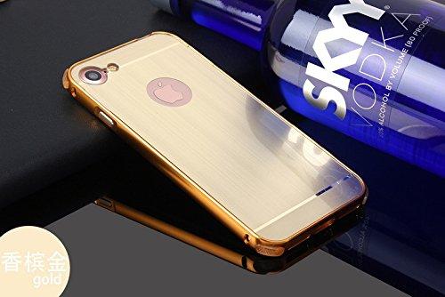 Sunroyal für iPhone 7 4.7 Zoll Gold Mirror Spiegel Metall Case Cover - Aluminium Rahmen PC Zurück Rückseite Bumper Case Metal Hülle Alu Metal Schutz Mirror Chrom Cover Ultra Slim Handy Tasche LUXUS Me Gold01