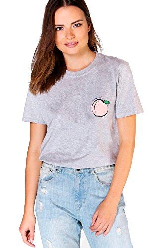 gris Femme Poppy T-shirt Surdimensionné Pêche Gris