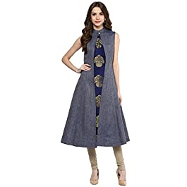 Aahwan Blue Denim A-Line Long Kurta Leggings Set for Women (B001)