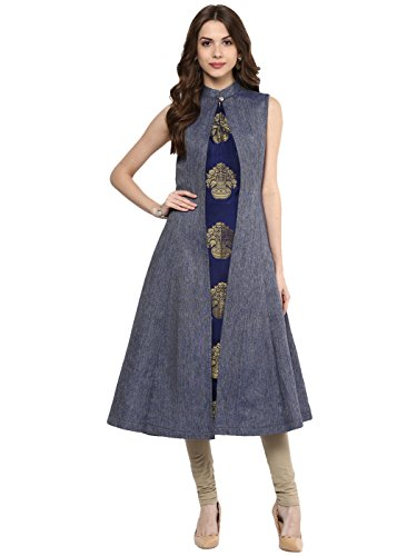 Aahwan Blue Denim A-Line Long Kurta for Women (B001)