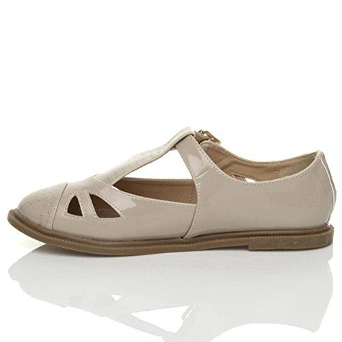 Damen Flach Mary Jane Schnalle Ausgeschnitten T-Riemen Ballerina Schuhe Größe Hautfarbenes Glanzleder IR5Sw