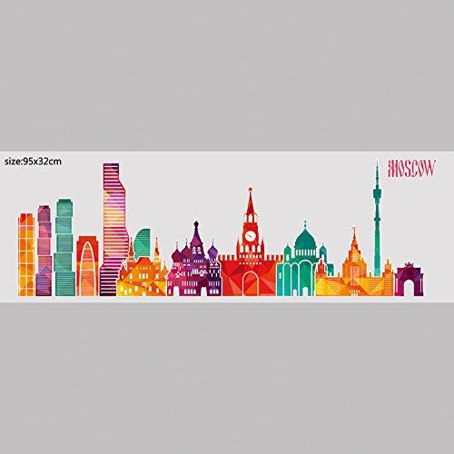 HCCY Shanghai street Szenen der Stadt silhouette Wand Aufkleber Aufkleber Singapur Peking dekoratives Glas fries Kollision Poster, Moskau