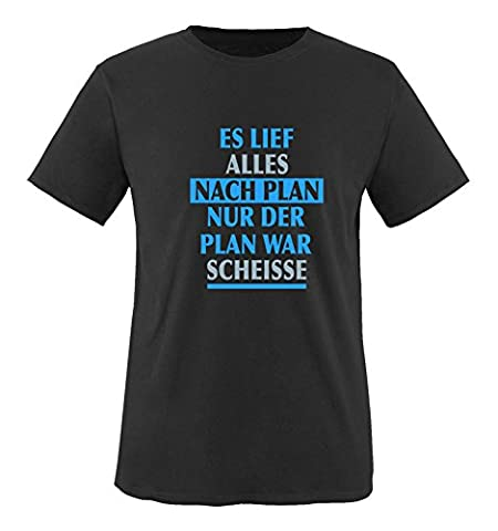 Comedy Shirts - Es lief alles nach Plan nur der Plan war scheisse. - Herren T-Shirt - Schwarz / Blau-Eisblau Gr. (Beste Tv-preise Nach Weihnachten)