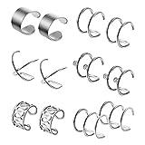 Pendientes falsos de plata para oreja, labios, anillos, no perforados, con circonitas, para hombres y mujeres, 6 pares