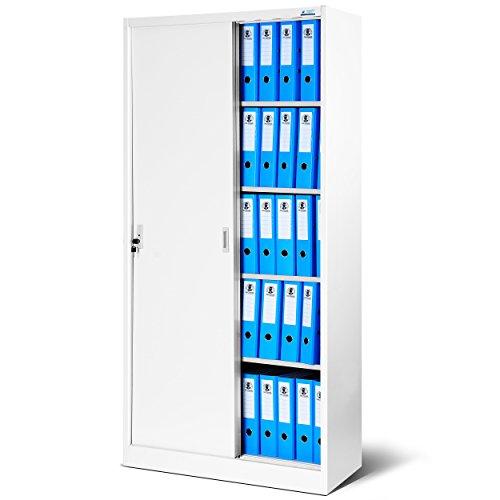 Büroschrank SD001, Aktenschrank mit Schiebetüren, abschließbar, Farbwahl, 185 cm x 90 cm x 40 cm (H x B x T) (weiß-weiß)