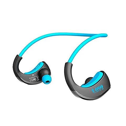 Hunpta Sports Casque étanche Écouteurs Oreillettes Bluetooth sans fil, bleu