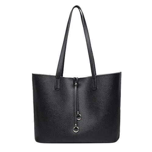 Hunpta@ Damen Handtasche Art- und Weiseretro- Feste Schulter-Tote-Handtaschen-beiläufige Tasche der großen Kapazitä Tote Handtasche Crossbody Taschen (Schwarz) -