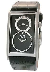 Davis - 1320 - Montre Homme Acier - Dual Timer - Quartz Analogique - Double Fuseaux - Bracelet Cuir