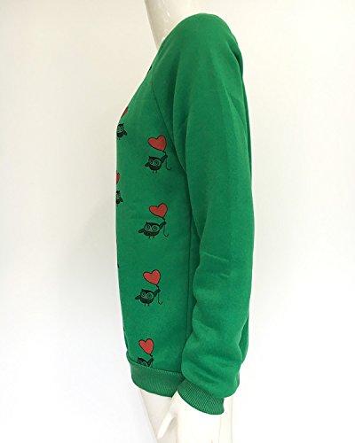 Minetom Femme Tee Shirt Tops à Manches Longues Col Rond Casual Top Chemisiers et Blouses Haut Impression Coeur Vert