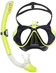 Máscara de Buceo para Submarinismo y Snorkel Compatible con Gopro hero 1, 2, 3 +, xiaomi, SJ cámaras (Amarillo)