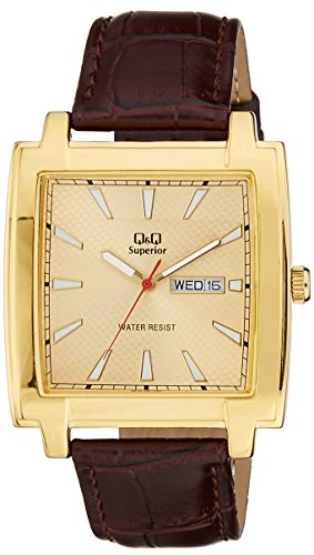 Q&Q Shogun Analog Gold Dial Men's Watch - S210-100Y image
