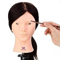 Neverland 24 inch 100% Real Hair Shoulder Platform Training Head Hairdressing Mannequin Head Practice DIY Manikin Head