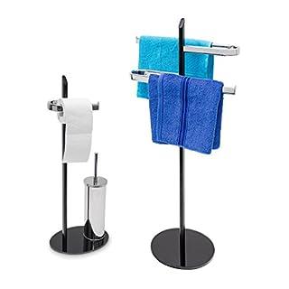 2tlg Badezimmer Set KLASS, WC Garnitur freistehend, Handtuchhalter 2 Arme, Toilettenpapierhalter, Toilettenbürstenhalter