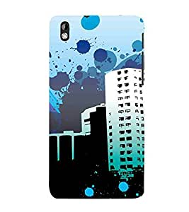 For HTC Desire 816 :: HTC Desire 816 Dual Sim :: HTC Desire 816G Dual Sim building, vector building, blue sky Designer Printed High Quality Smooth Matte Protective Mobile Case Back Pouch Cover by APEX