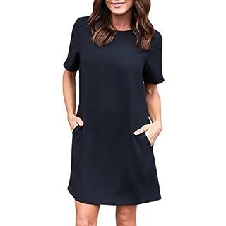 WSSB Dress, Womens Casual Solid Short Sleeveless Boyfriend Pocket Plain Dress Women's Sleeveless Short Sleeve Pockets Casual Swing T-Shirt Summer Dress (10, Black)