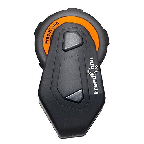 Stereo-intercom-panel (Motorrad Intercom, T-Max Gegensprechanlage mit Bluetooth v4.1 Freisprecheinrichtung bis zu 6 Benutzern, 1000m Entfernung, robust leicht wetterfest und Knopf-Kontrolle für Handy Musik GPS FM-Radio)