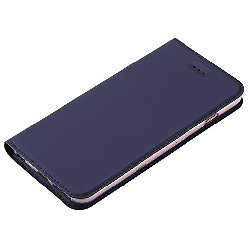 JIALUN-Telefon Fall Normallack Synthetik Leder Telefon Fall, Magnetverschluss Bookstyle Folio Stand Case mit Card Slot für iPhone 6 & 6s ( Color : Blue ) Blue
