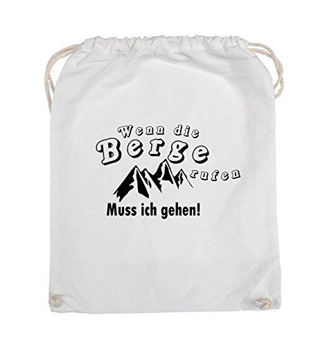 Comedy Bags - Wenn die Berge rufen - BERGE - Turnbeutel - 37x46cm - Farbe: Schwarz / Silber Weiss / Schwarz