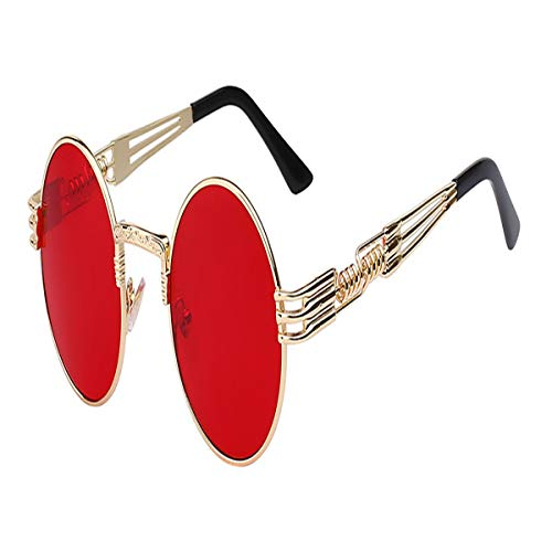 FGRYGF-eyewear Sport-Sonnenbrillen, Vintage Sonnenbrillen, Luxury Metal Sunglasses Men Round Sunglass Steampunk Coating Glasses Vintage Retro Lentes Oculos Of Male Sun Gold w sea red lens