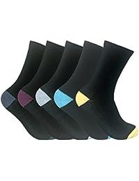 Sock Snob - Femme couleurs assorties talon et des orteils noires chaussettes avec douces coton dans un multipack