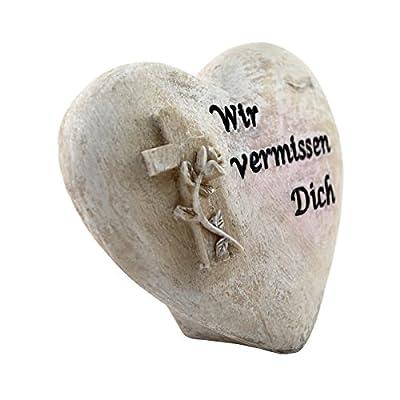 """Grabschmuck Stein (Polystone) Herz Kreuz 11 cm Herzform """"Wir vermissen dich"""" P-429"""