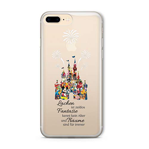 Cartoon Movie Character Fan Art CLEAR Hybrid Cover Case for Disney Castle-iPhone 6 Plus (5.5