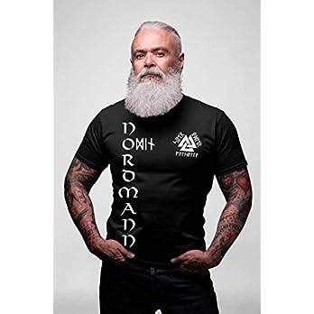Nordmann Herren Premium T-Shirt Sieg oder Walhalla Wikinger + Schlüsselanhänger mit Runen Valknut