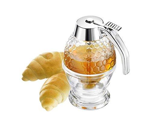 Vintage acrílico Bee Hive Jarabe dispensador de miel, no gotean, Pressed miel jarabe servidor