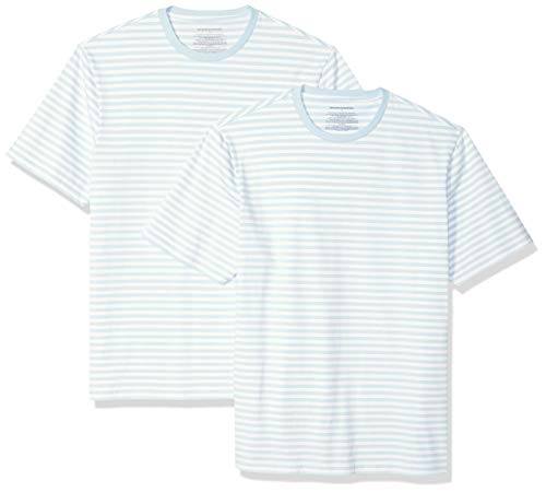 Amazon Essentials Herren Loose-fit Short-Sleeve Stripe Crewneck T-Shirts 2er Pack,Blau(Aqua/White),X-Large -