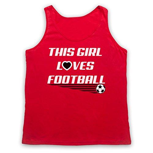 This Girl Loves Football Football Slogan Tank-Top Weste Rot