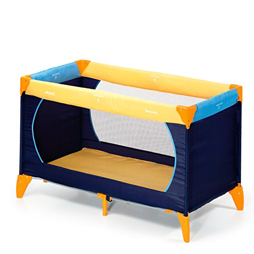 Hauck / Dream N Play / Lit Parapluie 3 Pièces / 120 x 60 cm / Naissance à 15 kg / avec Matelas et Sac de Transport / Pliable / Transportable / Inversable / Yellow Blue Navy (Bleu Marine)