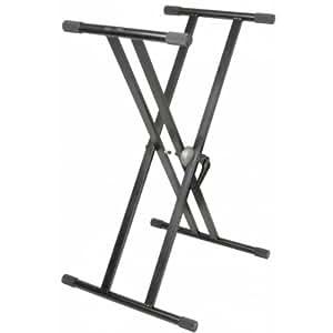 Electronic-Star Stand clavier réglable - Pieds doubles synthé et piano électrique (hauteur adaptable, pliable et transportable) - Acier noir