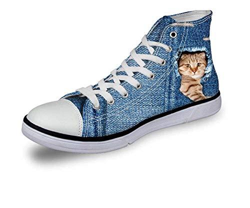 Blue Jane Cat Dog Women Girls Fashion High Top Canvas Trainers Plimsolls Shoes pattern3 C3303AK EU 36