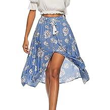 dd47f17a5f Falda Larga Mujer Maxi Bohemia Playa Vacaciones Gasa con Estampado Floral  Talla Grande Cintura Elástica Moda