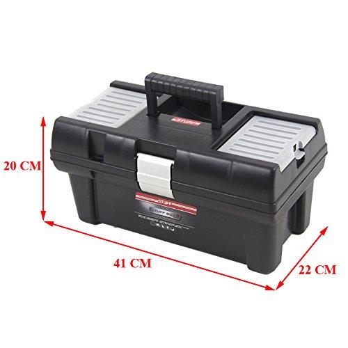 Kunststoff Werkzeugkoffer STUFF Semi Profi Alu 16″, 41x22cm Kasten Werzeugkiste Sortimentskasten Werkzeugkasten Anglerkoffer - 2
