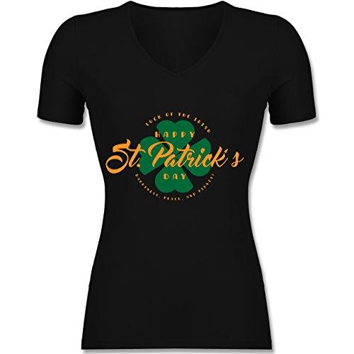 Shirtracer St. Patricks Day - St. Patricks Day Luck of The Irish - Tailliertes T-Shirt mit V-Ausschnitt für Frauen Schwarz