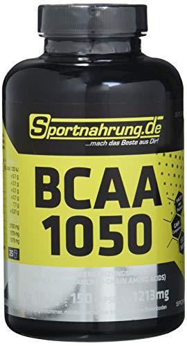 Sportnahrung.de BCAA 1050 - hochdosierte Kapseln mit freien BCAAs im Verhältnis 2:1:1, zur Unterstützung von Muskelaufbau und erhalt, 150 Kapseln