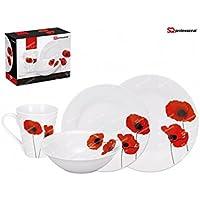 f678837978a9ea Service de table 16 pièces de vaisselle en porcelaine fine en Luxe  Coquelicot