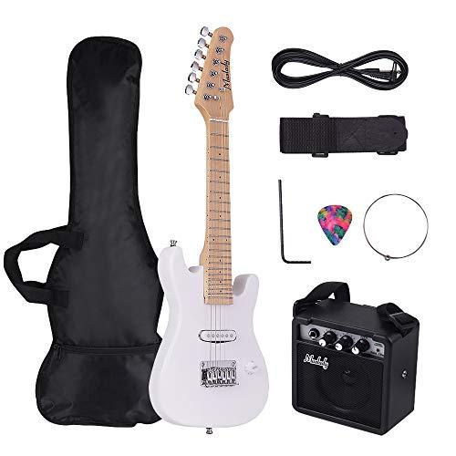 Festnight Muslady 28 Zoll Kinder ST E-Gitarren-Set Ahorn Hals Paulownia Körper mit Mini Verstärker Tasche Gitarrengurt Auswahl Kette Kabel Audio rechts Stil -