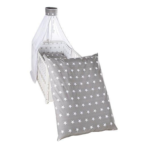 Weiße Kinderbett-set Baby-bettwäsche (roba Kinder-Bettgarnitur 4-tlg, Babybett-Ausstattung 'Little Stars', Bettset 4-teilig: Bettwäsche 100x135 (Decke & Kissen), Nestchen, Himmel)