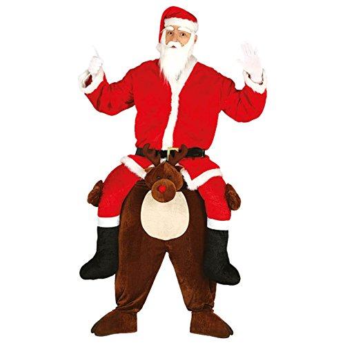 Costume Babbo Natale Cavalca Renna, Uomo Adulto, Taglia Unica L