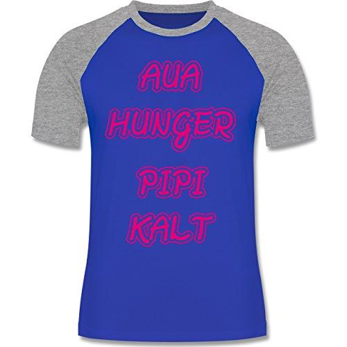 Shirtracer Statement Shirts - Aua, Hunger, Pipi, Kalt - Herren Baseball Shirt Royalblau/Grau meliert