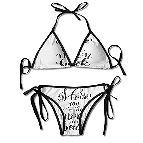 VTXWL Custom Bikini Ruffle for Women I Love You to The Printing Bikini for Women -