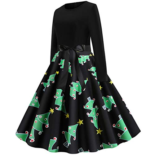 Sllowwa Weihnachtskleid Kleider Damen Rockabilly Kleid Elegante Kleider Lange Kleider Damenkleider Knielang Vintage Abend Party Prom Swing Dress(Grün,Large) (Kleinkind Wildes Kind Ninja Kostüm)