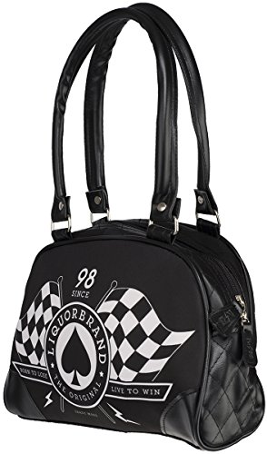 Liquor Brand RACE FLAGS Small Bowling Bag / TASCHE Rockabilly Schwarz mit weißem Motiv