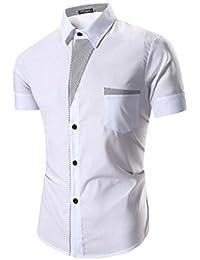 Ineternet Hommes Manches Courtes Chemises Habillées Formelle Slim Fit Shirt Tops
