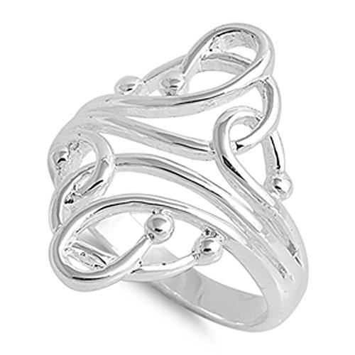 Damen-Geschwungene Ball Fashion Abstrakt Ring 925Sterling Silber Band Größe 9(rng14974-9) (Größe Ringe Fashion Damen 9)