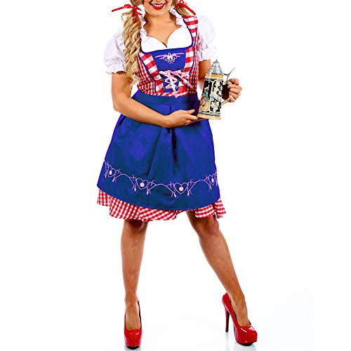 Soubrette Kostüm - RONSHIN Dirndl Oktoberfest Kostüm Bayerisches Karokleid Halloween Party Dienstmädchen Kostüm Blau XXL=42