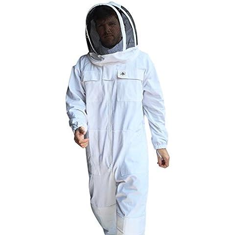 Carcasa de la apicultura apicultura–Traje–Blanco 100% algodón Fenced–Velo de Malla desmontable/Throwback Hood–costuras de alta calidad–Cremalleras YKK lisa