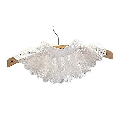 SamMoSon Colletto della Camicia della Collana del Collare Falso di Pizzo Pieghettato Decorativo Bianco - Colletto della Camicetta della Chiusura Lampo del Collare